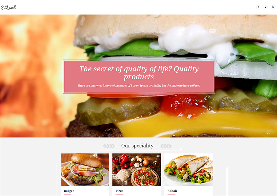 eCommerce & Delivery Landing Page Template