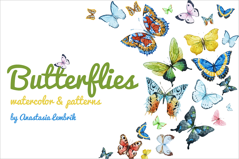 watercolour painting butterflie