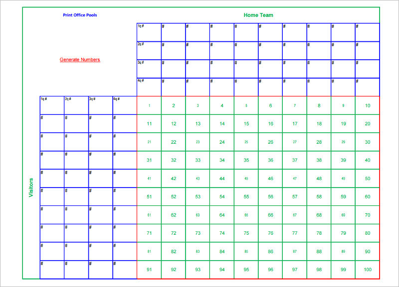 33 printable football square templates free excel word for Free super bowl pool templates