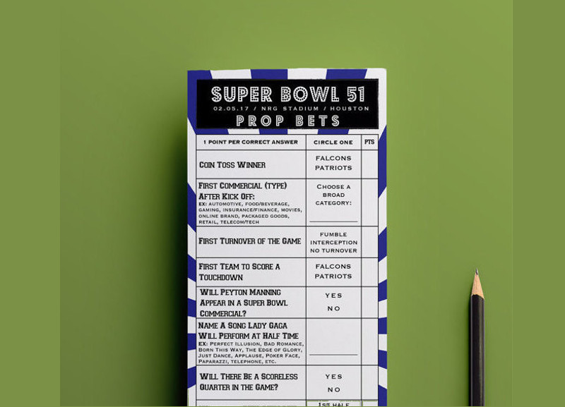 SuperBowl Football Pool Game Printable Download
