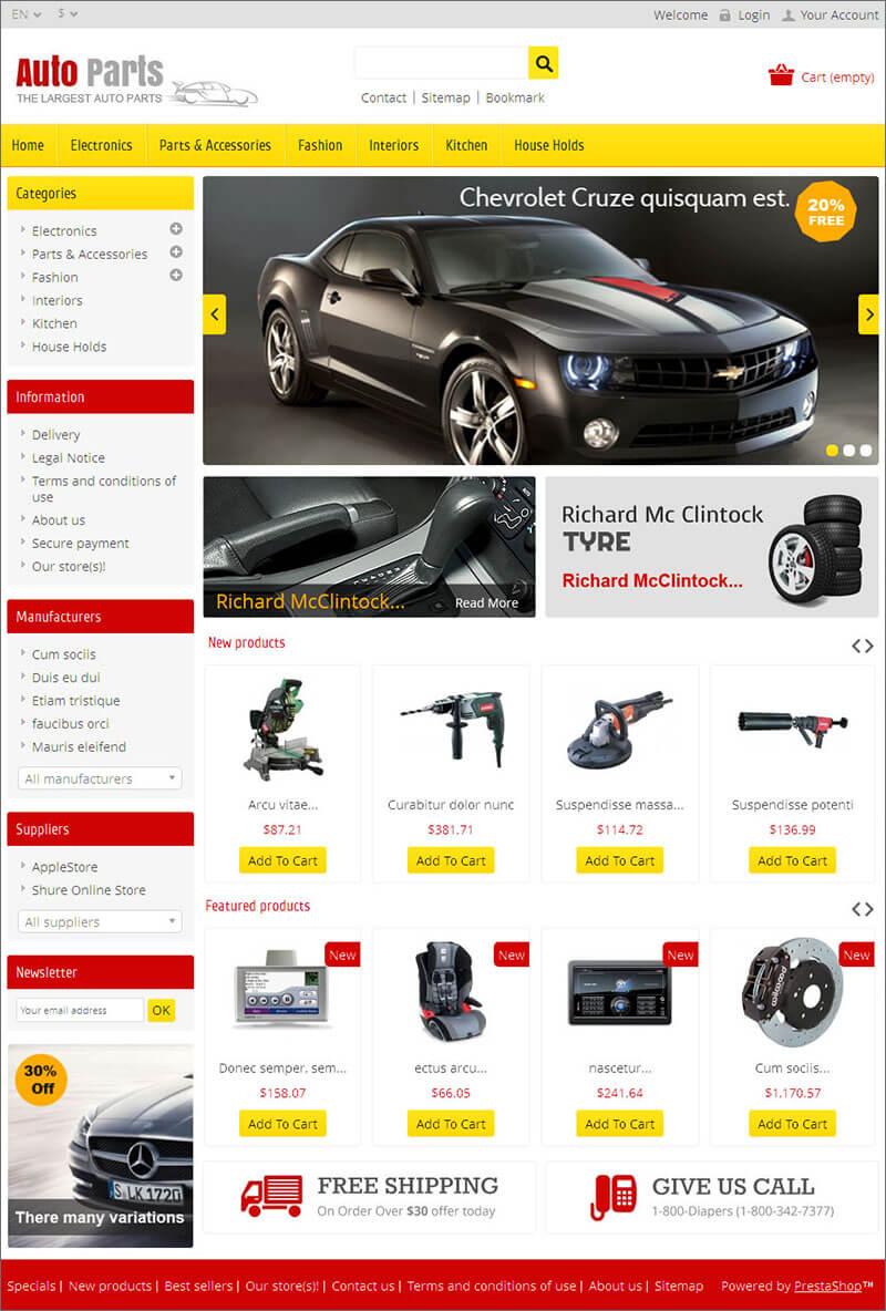 Auto Parts & Tools Prestashop Theme