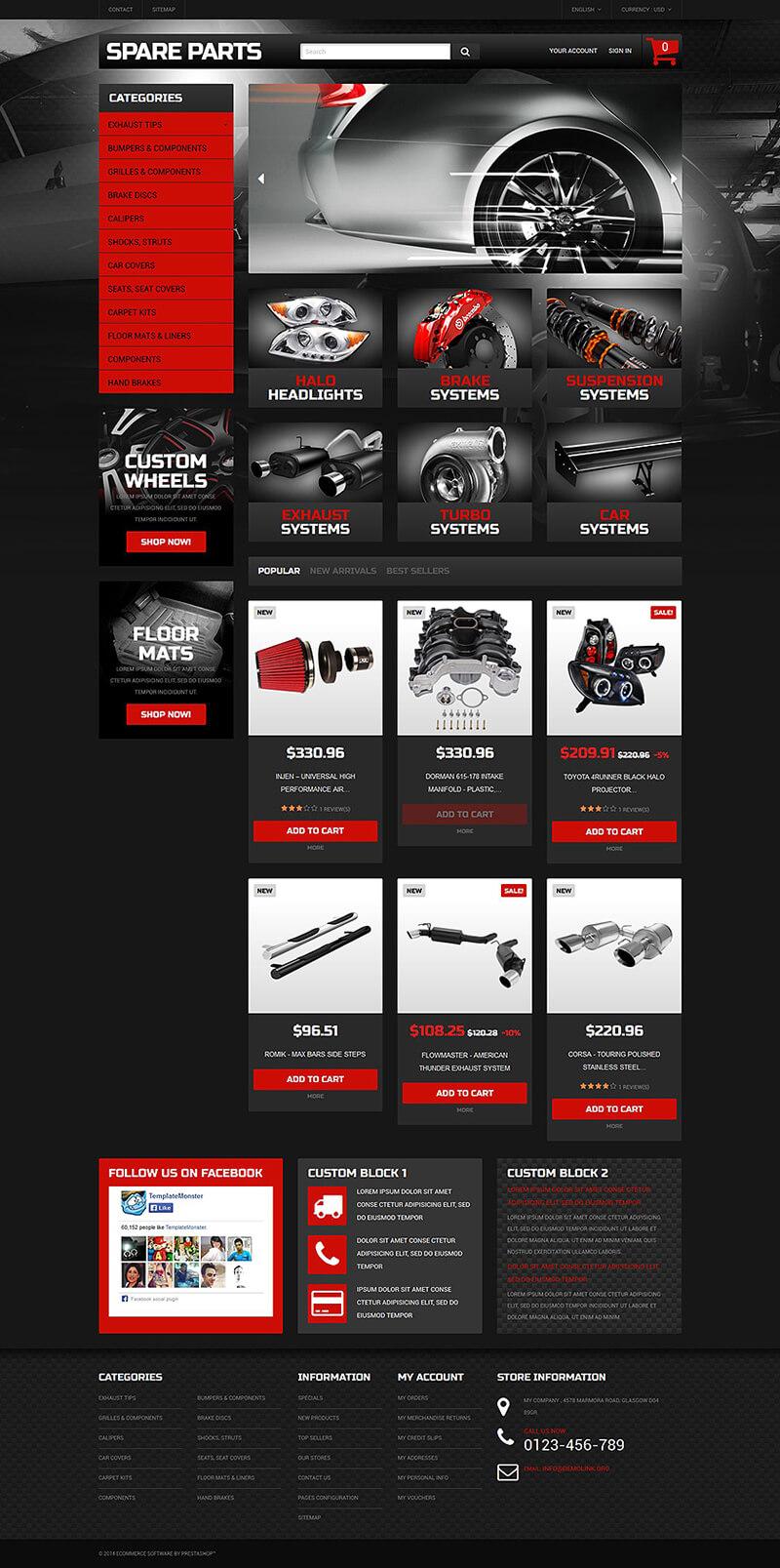 Automobile Replacement Parts PrestaShop Theme