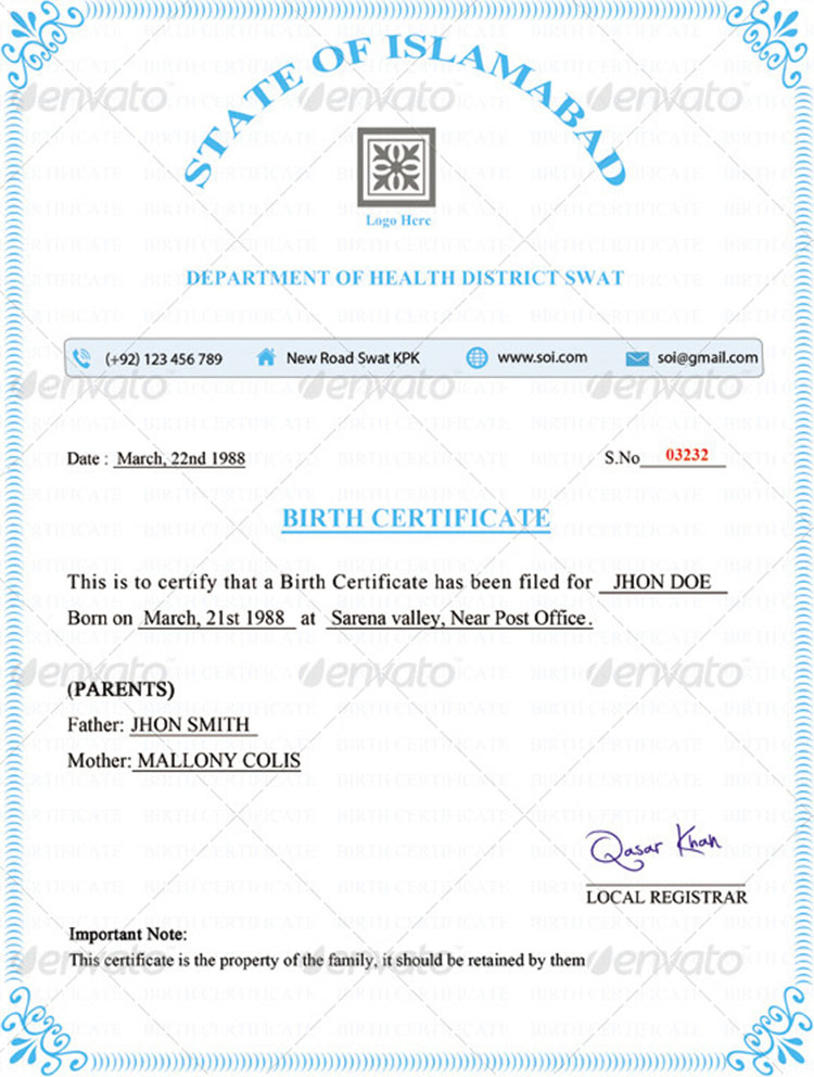 Birth Certificate Birth Certificate  Birth Certificate Template For School Project