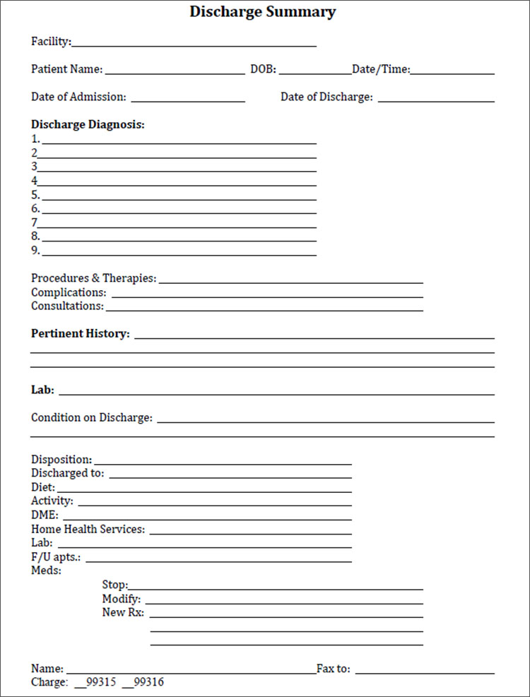 Discharge Summary Template In Pdf, Word, Excel Format | Creative