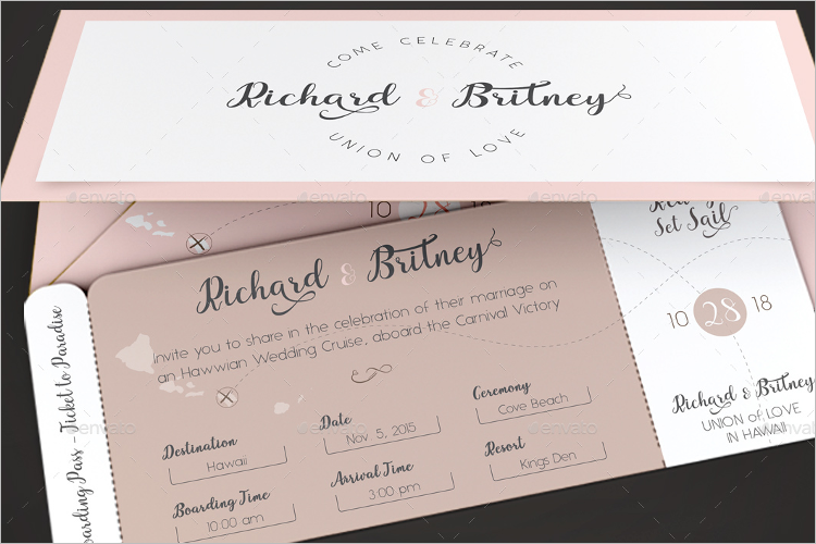 Boarding Pass Invitation Template Photoshop