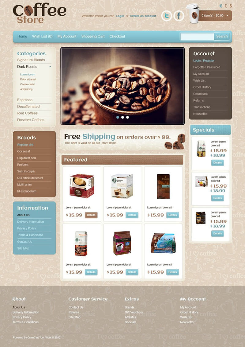 Cafe & Restaurant OpenCart Template