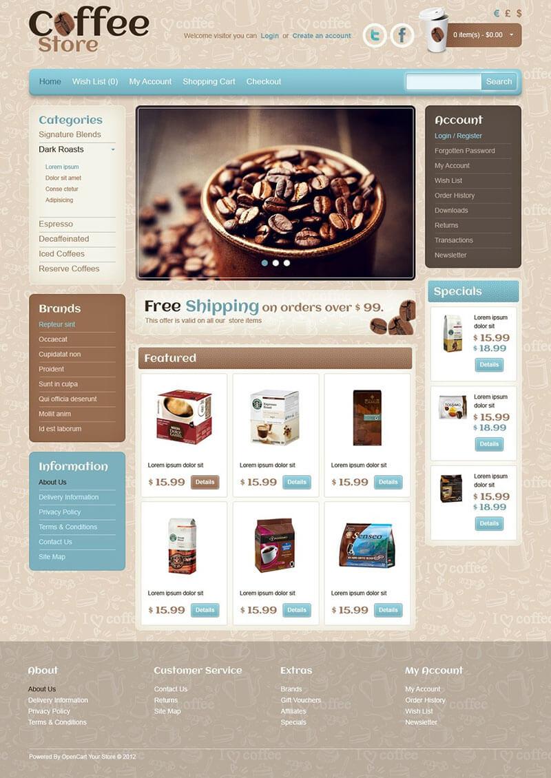 Cafe & Restaurant OpenCart Template