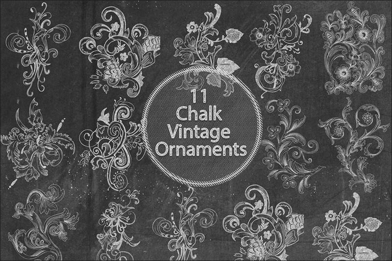 Chalk Vintage Ornaments