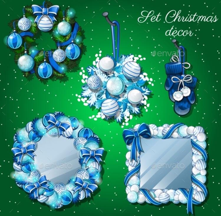 Christmas Decoration, Mirror & Wreath