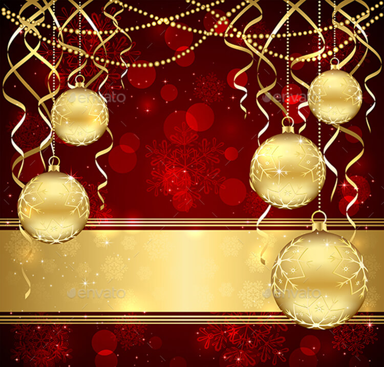 Christmas Decoration With Golden Balls