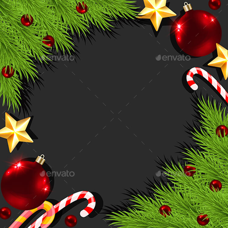 Christmas Decorations On Black Background
