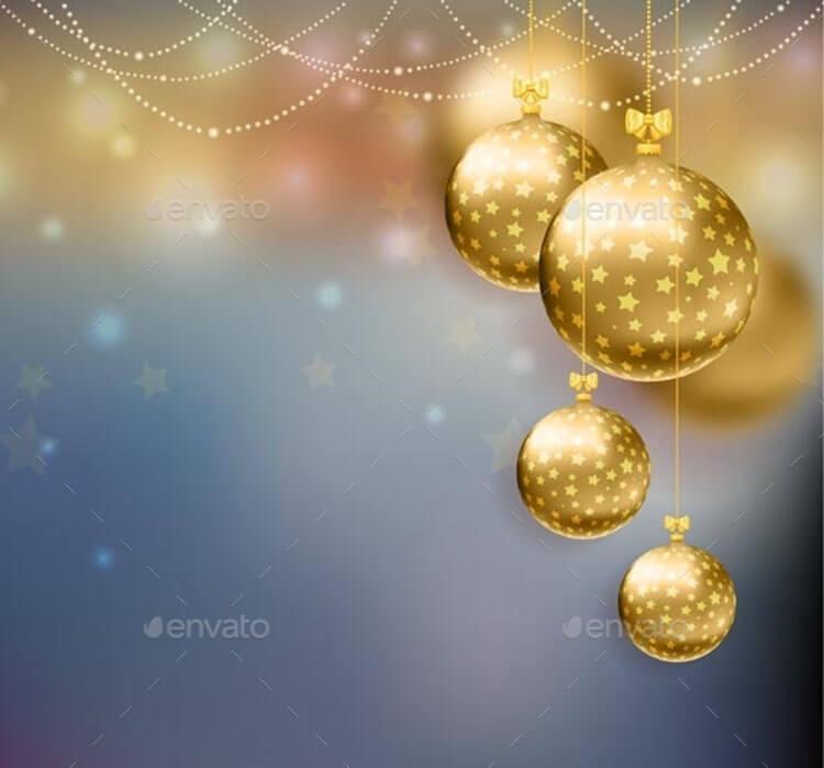 Christmas Golden Balls Template Background