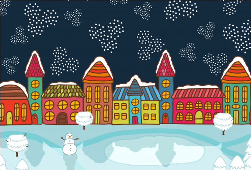Christmas House Background Free Design