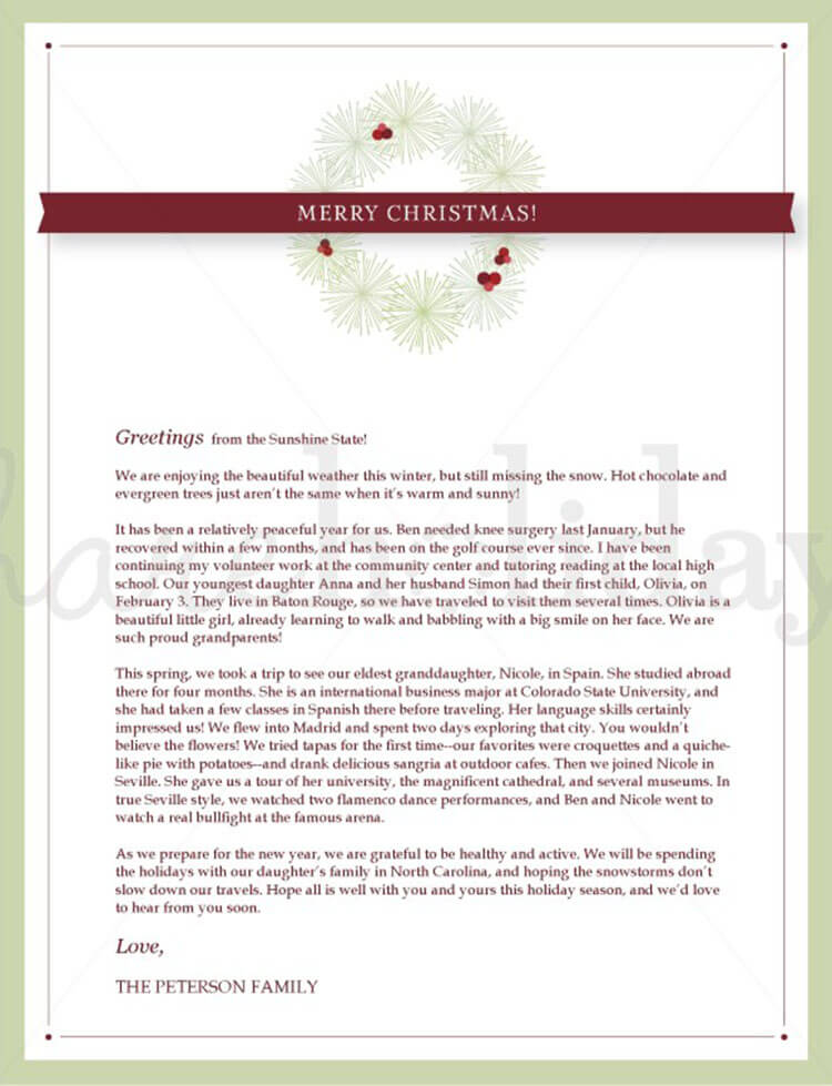 Christmas Letter Example Template