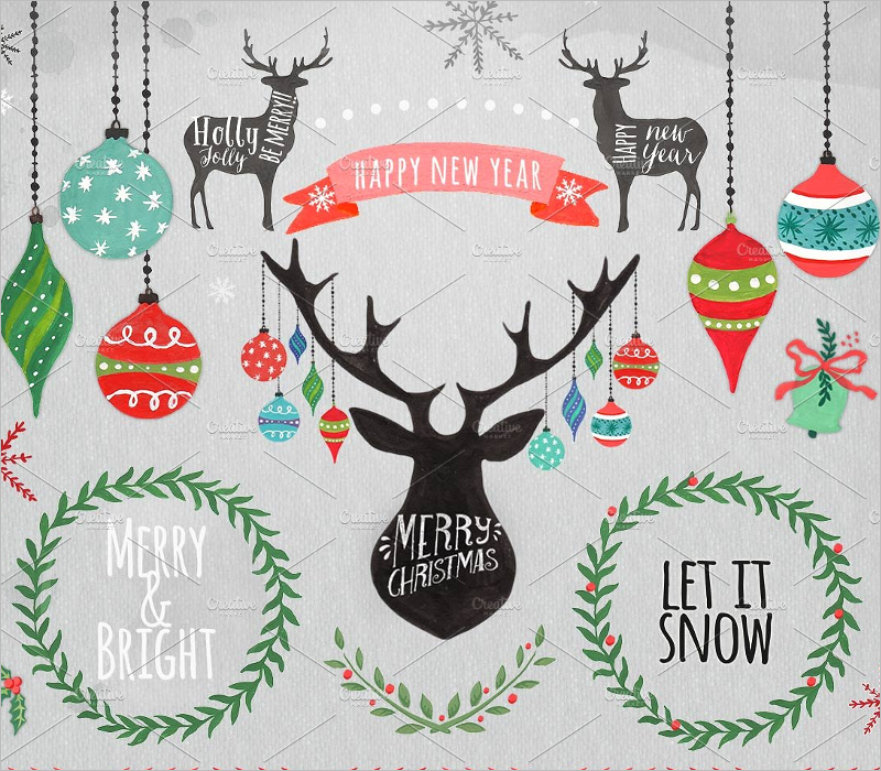 Christmas Ornaments Clipart Design