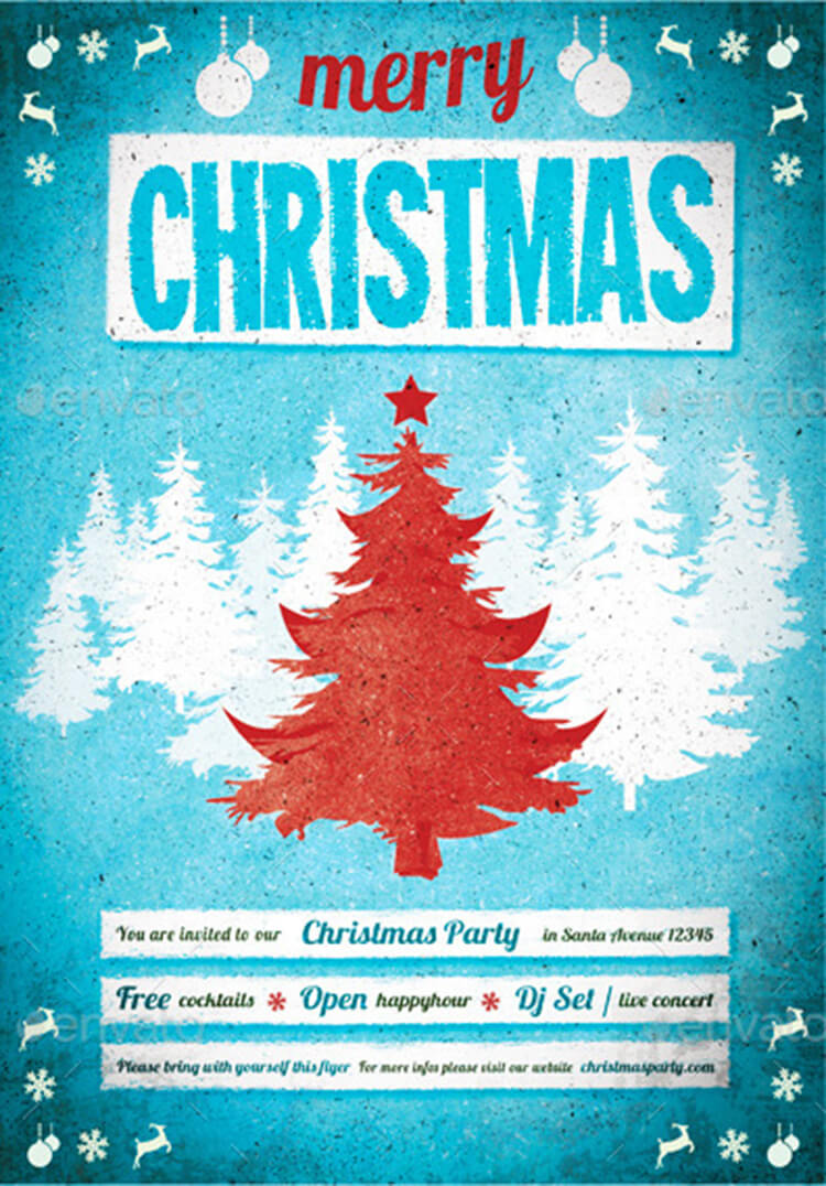 Christmas Poster With Blue Background