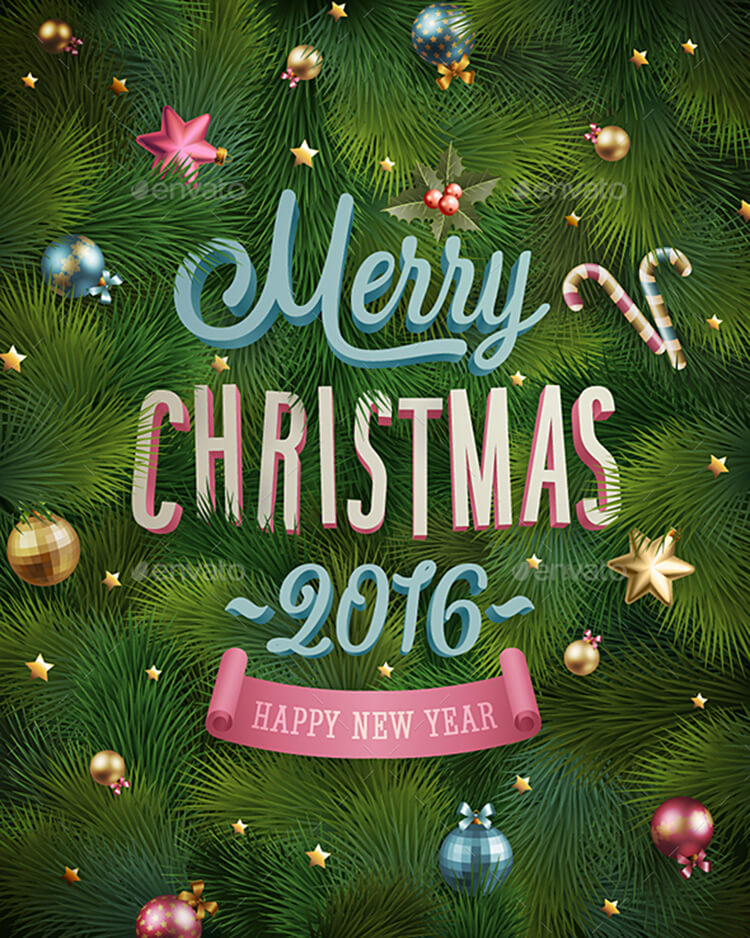 Christmas Poster With Fir tree Texture & Baubles