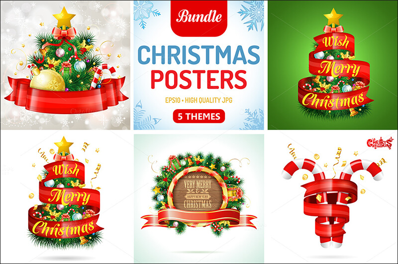 Christmas Posters With Confetti & Candy
