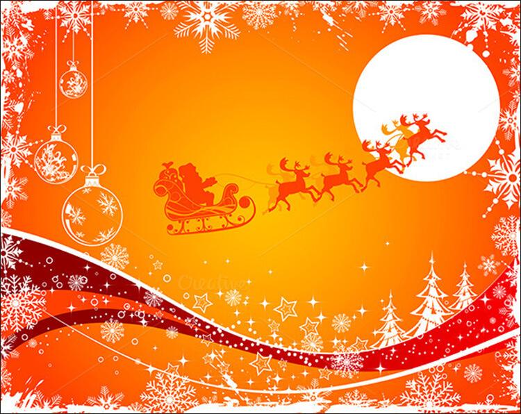Christmas Posters With Snowflakes, Santa & Trees