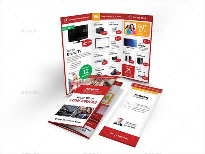 Christmas Shop Trifold Brochure Template