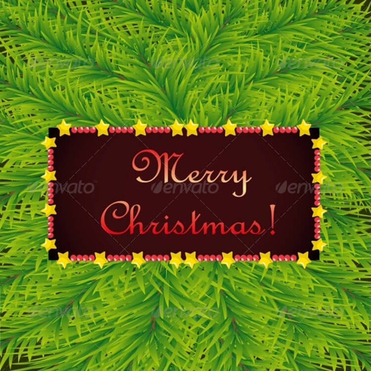 Christmas Template On Background Of Fir