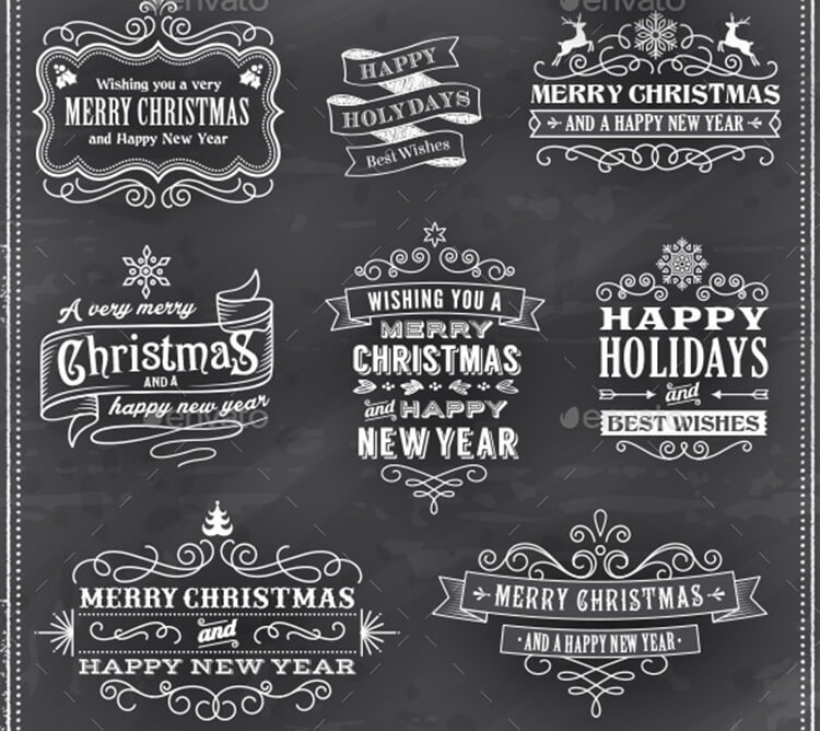 Christmas Vector Chalkboard Labels
