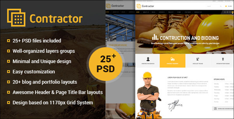 Contractor – Construction, Building Company PSD