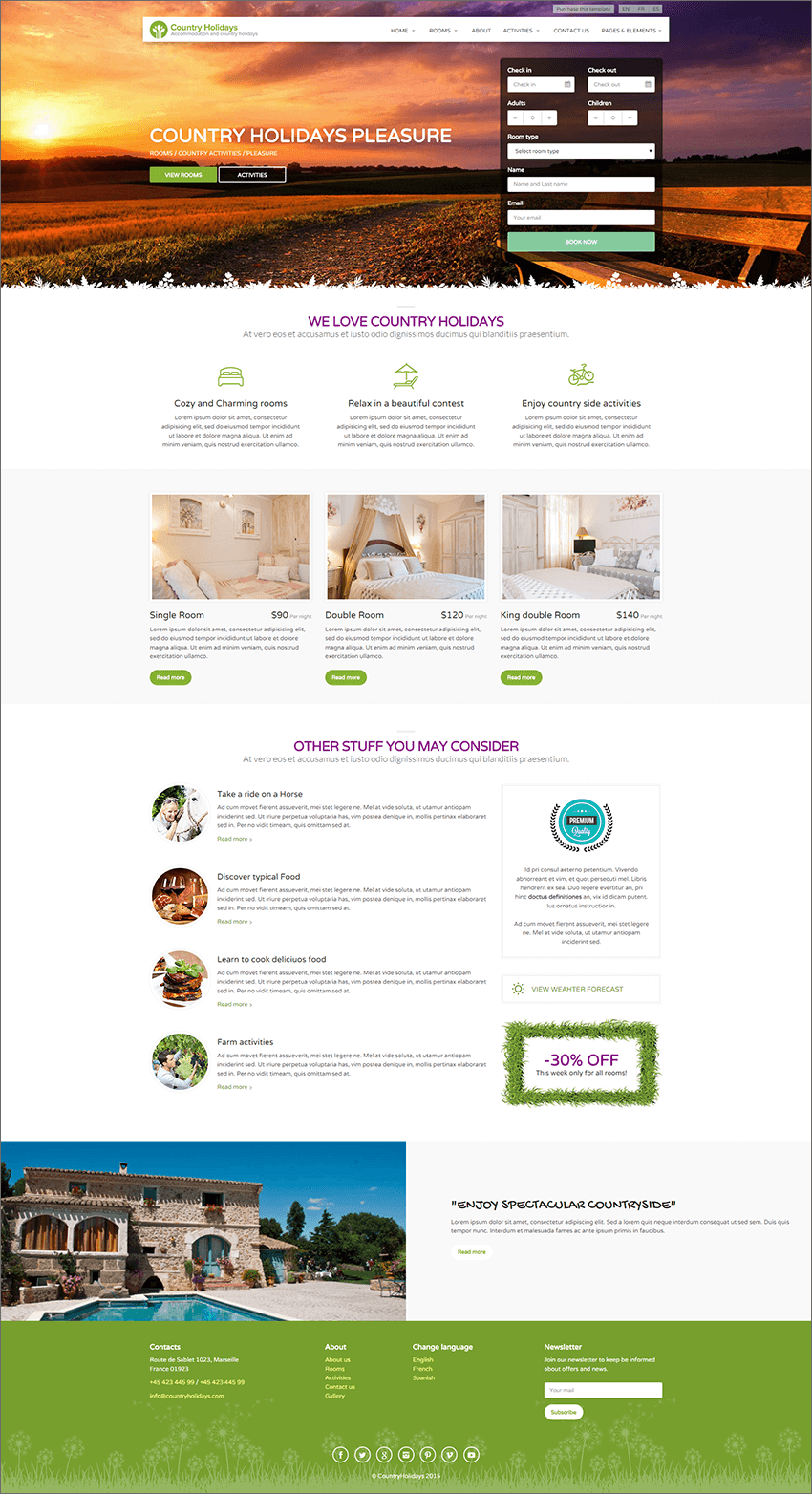 Country Hotel PHP Template