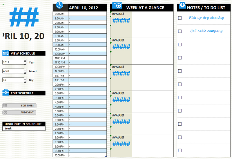 Daily Planner Excel Template