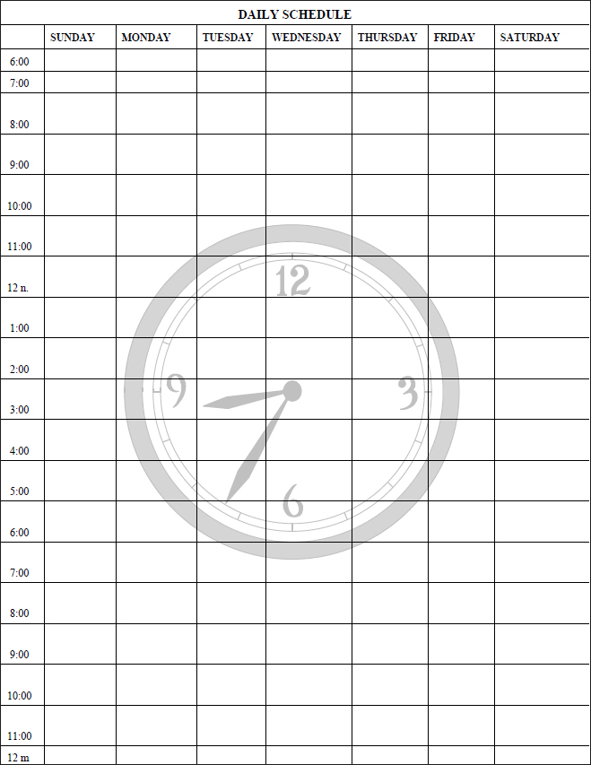 Daily Schedule PDF Template