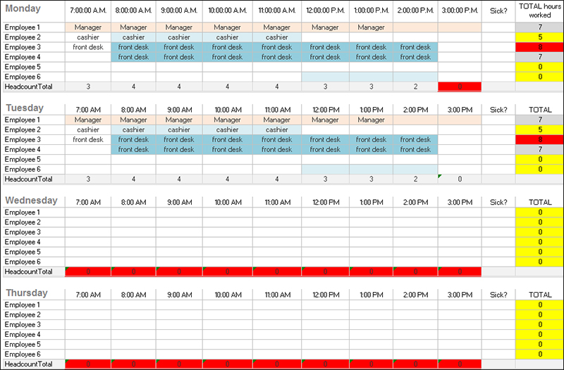 31 daily work schedule templates free pdf excel word