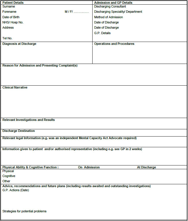 Discharg Summary Template Free