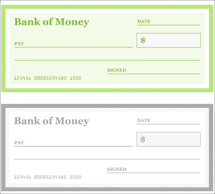 Dollars Cheque Template