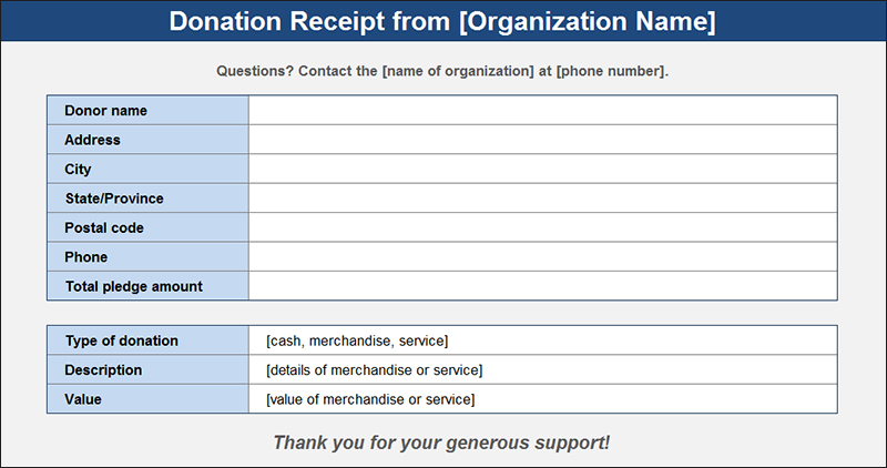 Donation Receipt From