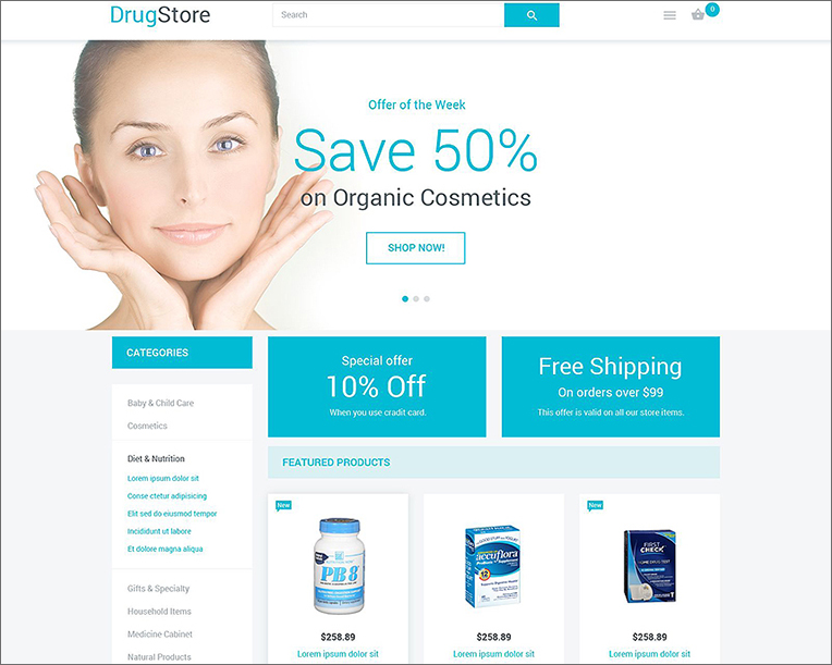 Drug Store Responsive Magento Template
