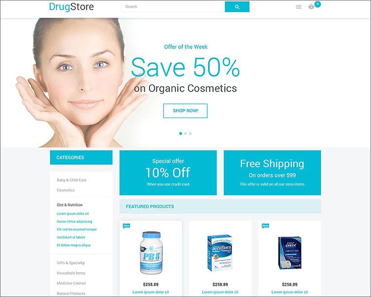 Drug Store Responsive Magento Template