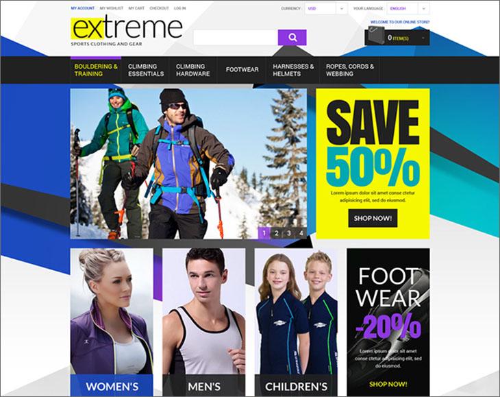 Extreme Sportswear Magento Theme