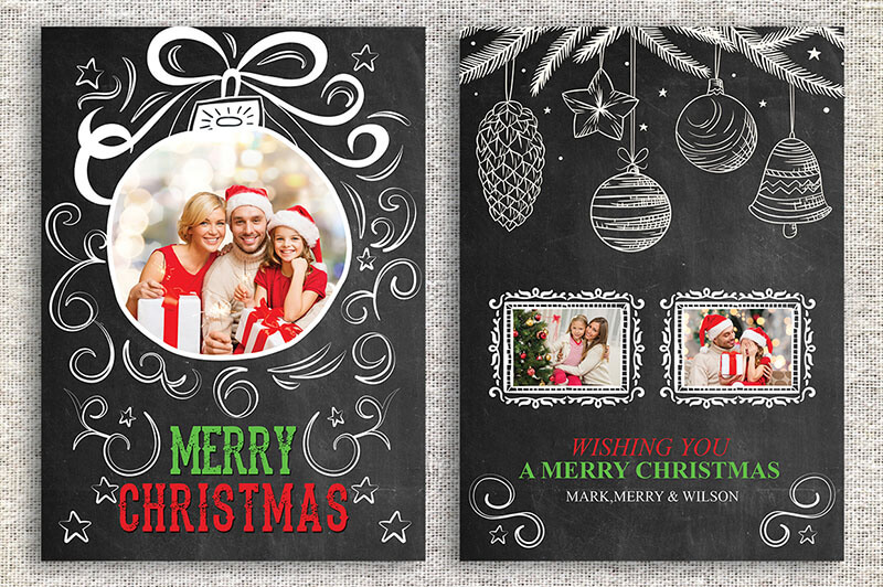 18 printable christmas thank you card templates free for Free christmas card templates for photographers