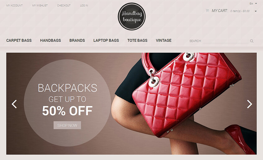 Fancy Handbag Boutique Magento Theme