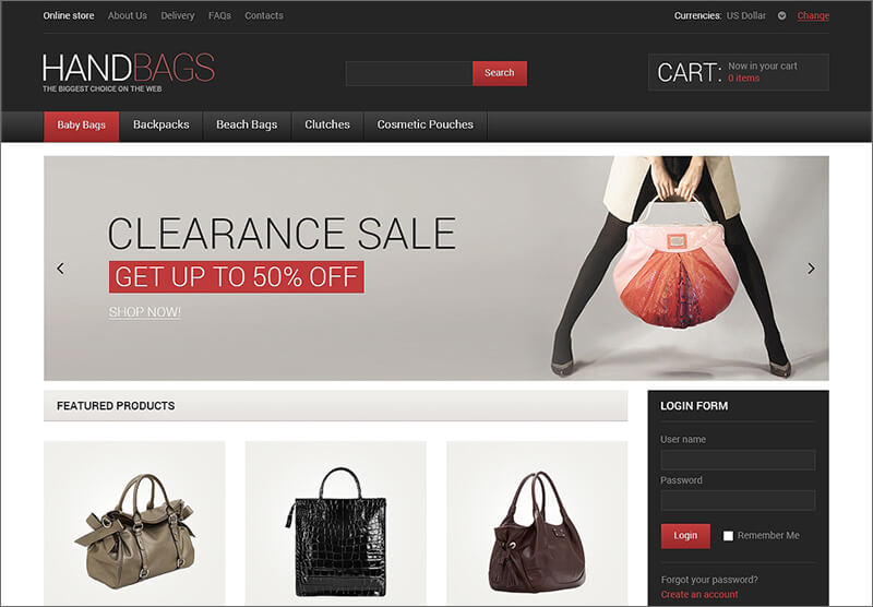 Fancy Handbags VirtueMart Template