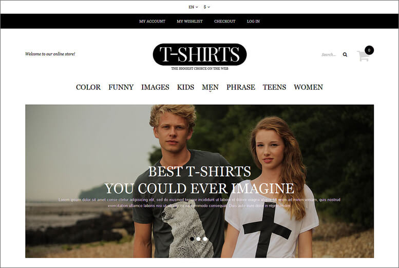 Fashion T-shirt Shop Magento Theme