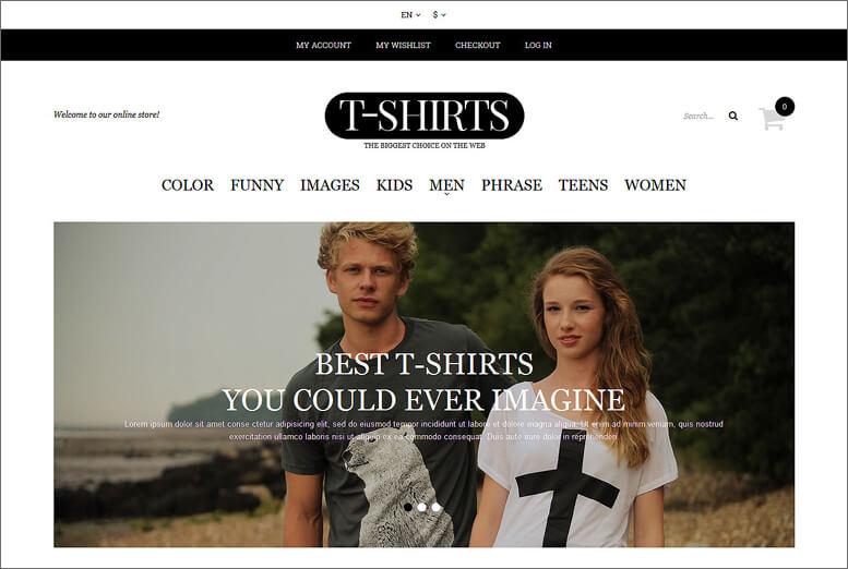 Fashion T-shirt Shop Magento Theme