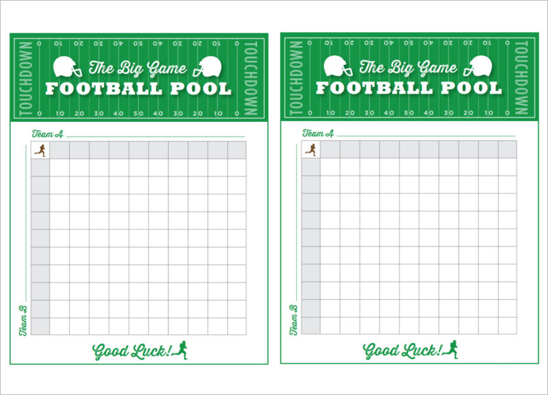 Football Gam Pool Free Printable 11×14 Living Locurto PDF