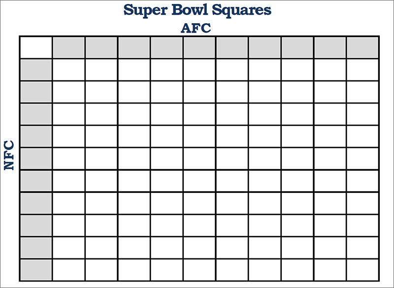 Football Squares Template PDF