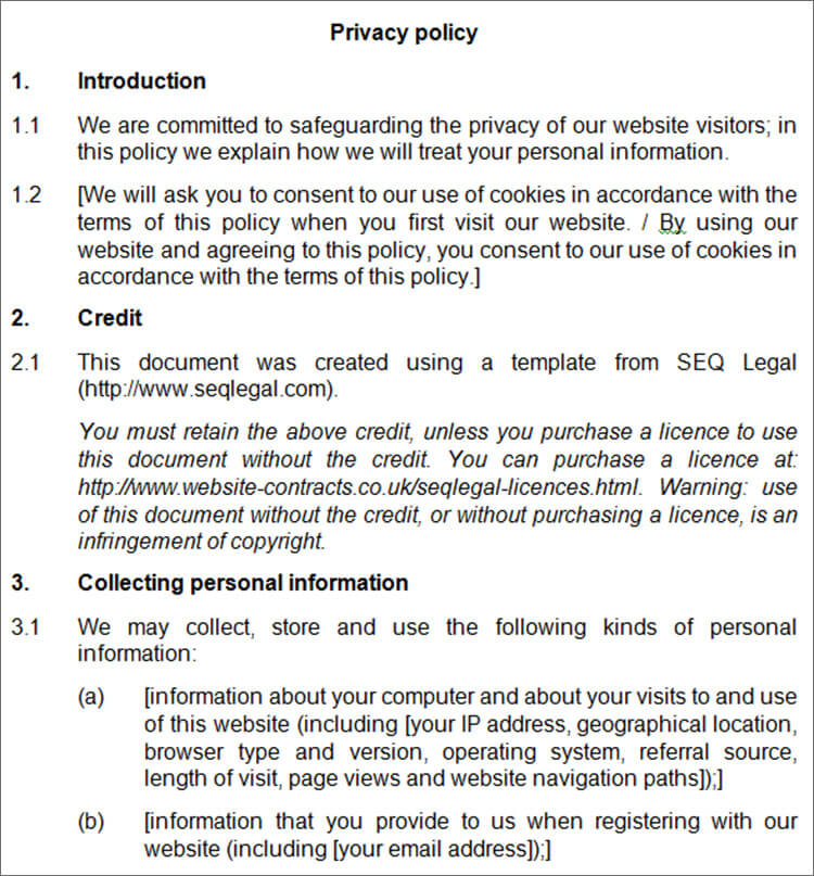 free privacy policy template