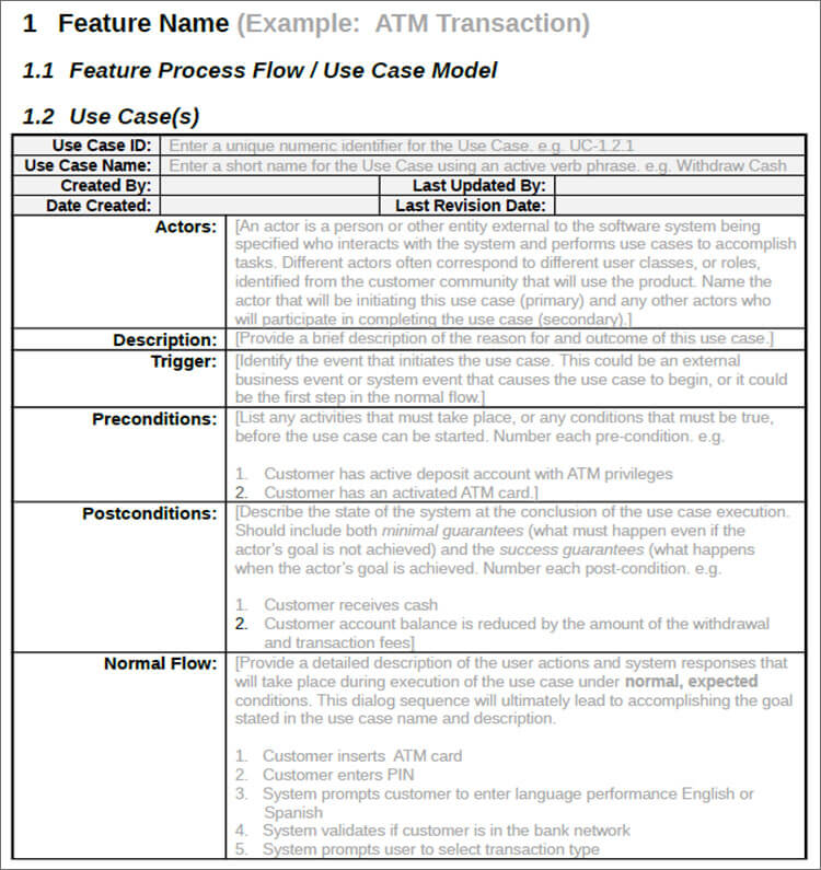 Free Use Case Template