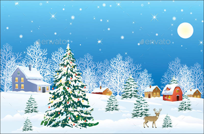 Fully Resizable Christmas Background Template