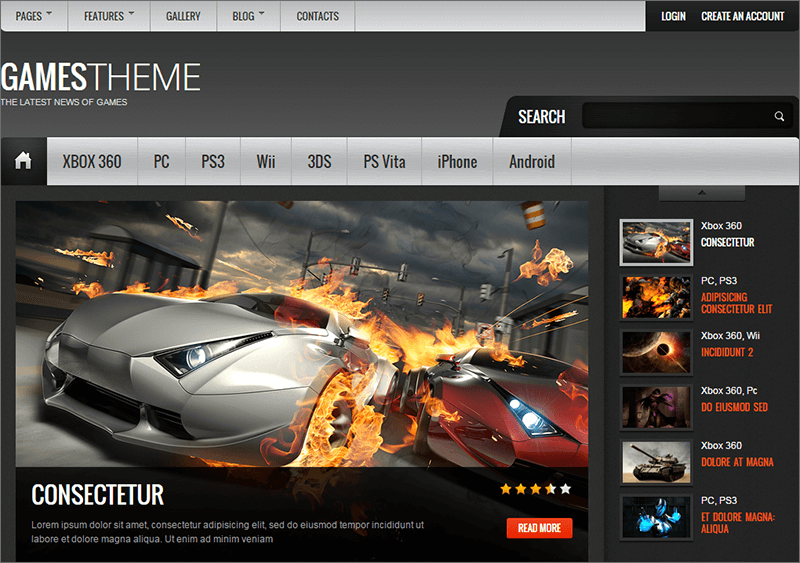 Games HTML5 & CSS3 Template
