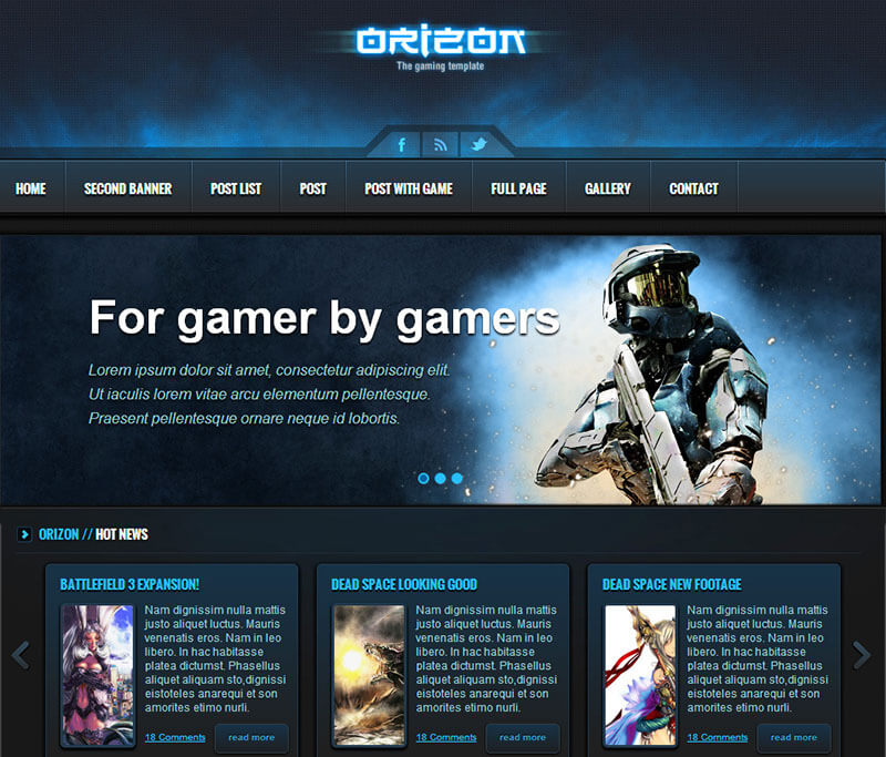 16 best gaming html5 templates free website themes for Game maker templates download