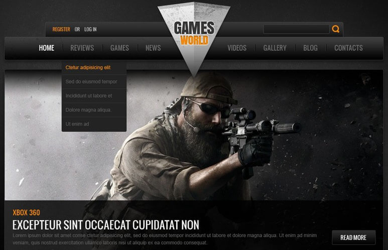 Gaming HTML Website Template